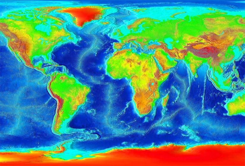 Mapa Batimétrico Mundial: as zonas de águas mais e menos profundas