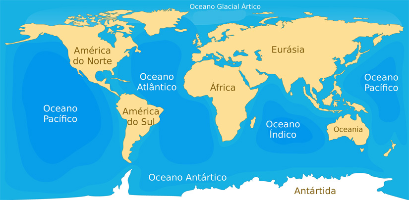 Planeta Terra: os cinco oceanos são o Pacífico, o Atlântico, o Índico, o Antártico e o Ártico