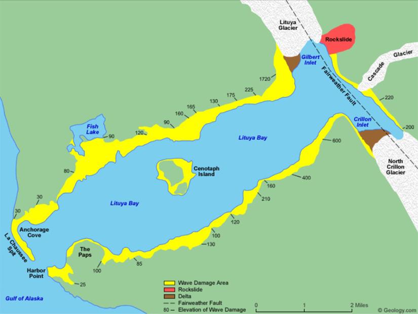 Mapa da Baía de Lituya: o mega-tsunami começou perto da enseada de Gilbert | Ilustração: Geology.com